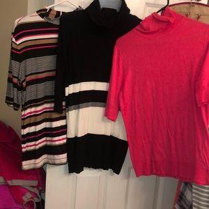 Women's bundle of (3)-size lg turtleneck blouses